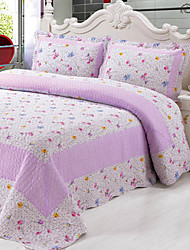 3-Piece Lilac Pattern Washed Cotton Quilt Set