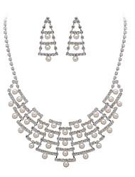 magnifiques cristaux clairs et l'imitation de perles bijoux de mariage mis, y compris le collier et boucles d'oreilles
