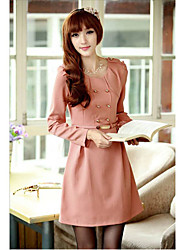 Pink Double Breast A Line Dress With Belt