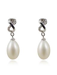 Wunderschöne 925 Sterling Silber Oval Pearl Drop Earrings