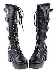Sapatos Gótica Confeccionada à Mão Salto Alto Sapatos Cor Única 8 CM Para Couro PU/Couro de Poliuretano Couro de poliuretano