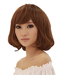 Capless Medium Long Light Brown Curly Synthetic Fiber Wigs Full Bang