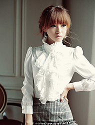 Women's Stand Collar Ruffle Shirt