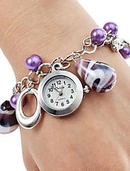 Mulheres Relógio de Moda Quartz Aço Inoxidável Banda Relógio de Pulso / pulseira Roxa
