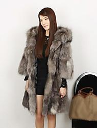 Bella Senza collo / cappuccio pelliccia di volpe Casual / Partito Coat
