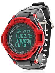 pressione custodia nera in gomma orologio da polso da uomo multifunzionale rosso banda digitale