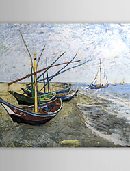 Oil famoso quadro A-fishing-boat-on-the-beach-em-les-saintes por Van Gogh