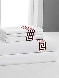 """simples&conjunto de folhas opulence®, 400 tc 100% algodão bordado sólido de até 15 """"de profundidade"""