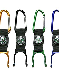 Alumnium Alloy Outdoor Portable Bottle Gripper with Compass/Carabiner(Random Color)
