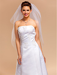 3 Layers Elbow Wedding Veils With Cut Edge