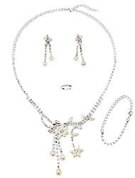 Elegante Legierung mit Strass nachgemachte Perlen Damen Schmuck Sets einschließlich Halskette, Ohrringe, Ring, Armband