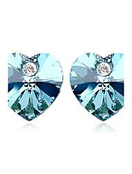 Fashion Heart Cut Crystal Stud Earrings(More Colors)