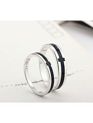 Magnifique 925 Sterling Silver Cross Couples conception Anneaux