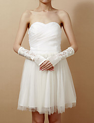 Delicate Satin Fingerless Elbow Length Wedding Gloves With Lace
