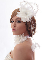 Schöne Silk Screen mit Federn Hochzeit / Braut Kopfschmuck Blume