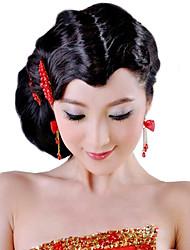 Alta qualidade de cabelo sintético preto ondulado Bangs