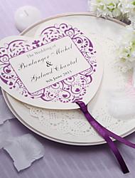 Personalizado em forma de coração ventilador de mão de papel - Flor roxa (conjunto de 12)