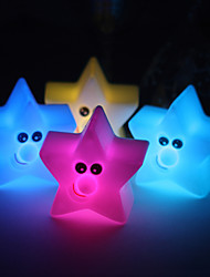 Wedding Décor Smiling Vinyl Star LED Lamp - Set of 4 (Color Changing, Built-in Botton Cell)