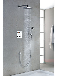 Chrome Finish Contemporary Thermostatic LED Digital Display 8 inch Square Showerhead + Handshower
