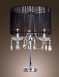 MAISHANG® Comtemporary Crystal 3 - Light Table Light with Farbric Shade Candle Featured