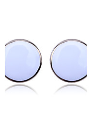 Lureme®Round Button Pattern Earrings(Assorted Colors)