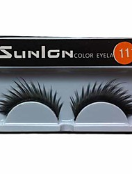 1 Pair Black Machine Made False Eyelashes SL111