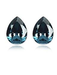 Charme ovale en cristal Boucles d'oreilles Solitaire (Plus de couleurs)