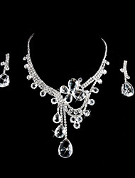 Elegant Rhinestones Alloy Wedding Bridal Jewelry Set Including Necklace And Earrings