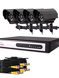 CCTV DVR Kit with  4pcs 480TVL Cmos Cameras(4 Channel D1 Recording)