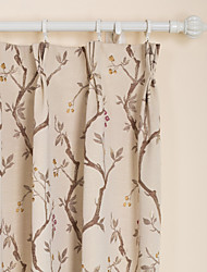 (One Pair) Country Floral Jacquard Thermal Curtain