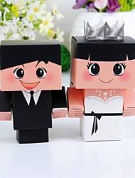12 peças / detentor favor set - criativo papel cartão caixas do favor noiva& noivo
