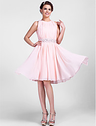 Homecoming Cocktail Party/Homecoming/Wedding Party Dress - Pearl Pink Plus Sizes A-line/Princess Jewel Knee-length Chiffon