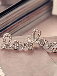 Women's Fashion Word Love All Diamond Studs