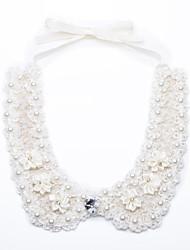 Women's Elegant Lace Pearl Knitting Detachable Collar