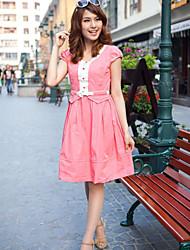 JDUO Bow Short Sleeve Dress