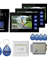 "New 7"" Touch Panel Video Door phone System with 3 Monitors(RFID keyfobs,Electronic Controlling Lock)"