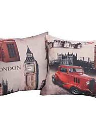 Juego de 2 Paisaje Londres Algodón / Lino Cubierta almohada decorativa