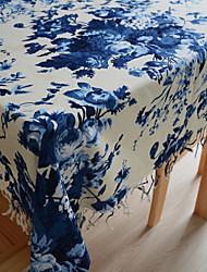 Ink Floral Linen / Cotton Blend Table Cloth