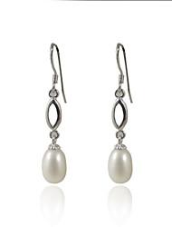 Mode 925 Sterling Silver Pearl Drop Earrings