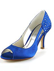 Gorgeous Satin Pfennigabsatz Peep Toe mit Strass Hochzeit Schuhe (weitere Farben)