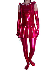 Senza maniche corto Red Dress Uniform Sailor Shiny Metallic