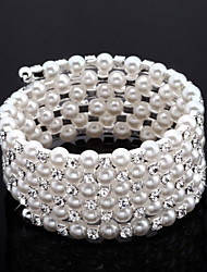 Exquisite Ladies' Rhinestone Strand/Tennis Bracelet In White Pearl