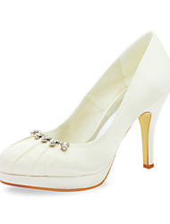 Satin Stiletto Heel Pumps With Heart Ruched Wedding Shoes (More Colors)