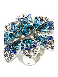 Fabulous Alloy Flower Design mit leuchtenden Kristall Ring