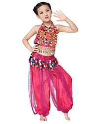 Dancewear Chiffon with Coins Performance Belly Dance Outfit Top and Bottom For Children More Colors