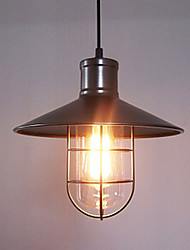 60W Modern Pendant Light with Metal Frame and Shade in Old Factory Style