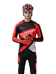 MYSENLAN PN Mesh+Flex Material Long Sleeve Quick-Drying Men Cycling Suits(Black,Red)