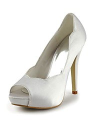 Women's Shoes Satin / Stretch Satin Spring / Fall Heels / Peep Toe / Platform Wedding Stiletto Heel Ivory / White