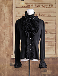Long Sleeve Black Cotton Aristocratic Gothic Lolita Blouse with Cravat