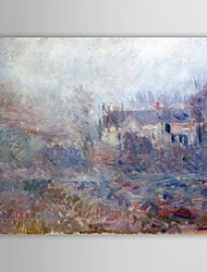 Famous Oil Painting Houses at Falaise in the Fog by Claude Monet